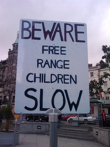 sign: beware of free range children