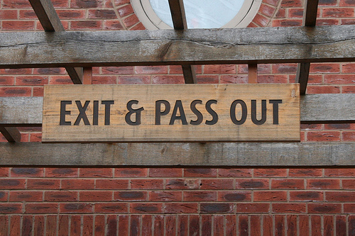 Funny sign: exit-and-pass-out