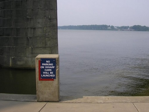 funny sign: no-parking-on-wharf