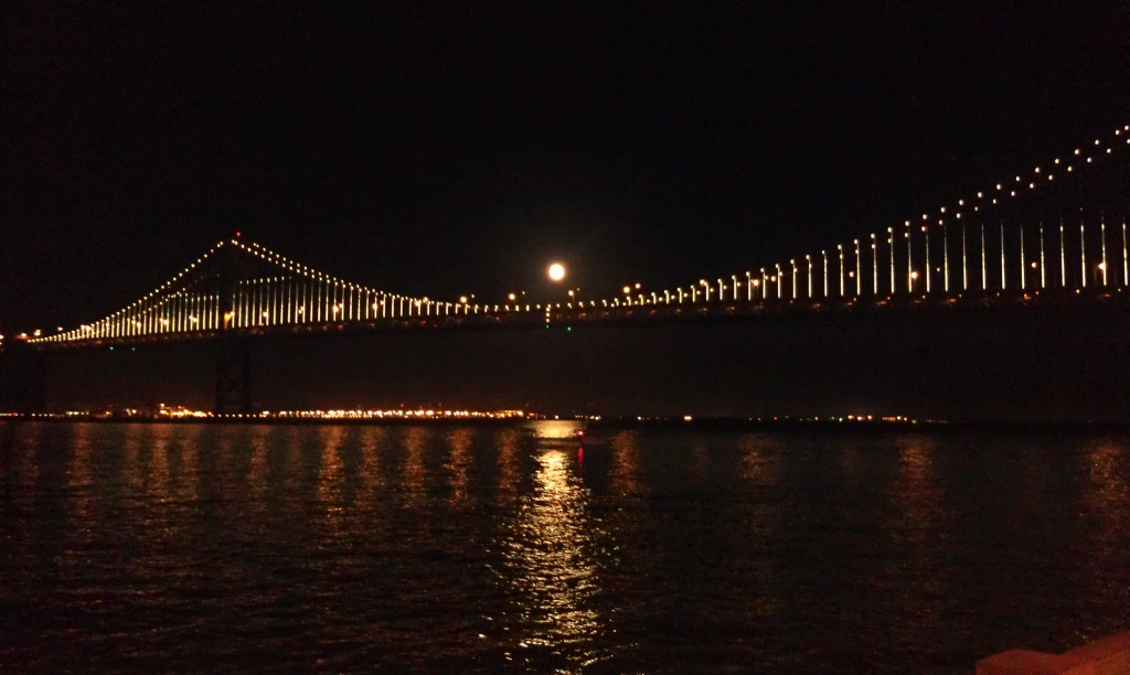 moon over bay bridge